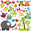 Large Set Of Design Elements Over White Background, Animal, Bird, Insect And Plants Collection
