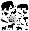 Large Silhouette Set Of Wild Animals And Birds stock illustration