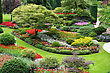 Large Well Groomed Flower Garden With Walkling Paths stock photo