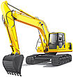 Large Yellow Crawler Excavator File Contains Gradients No Blends And Strokes stock illustration