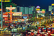 LAS VEGAS - APRIL 18: Las Vegas Boulevard In The Night On April 18, 2014 In Las Vegas, Nevada. It's The Most Populous City In The State Of Nevada And The County Seat Of Clark County stock photo