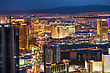LAS VEGAS - April 20: Overview Of Downtown Las Vegas In The Night On April 20, 2014 In Las Vegas. It's The Most Populous City In The State Of Nevada And The County Seat Of Clark County stock photo