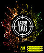 Neon Laser Tag With Target.on A Background Of Multi-colored Laser Beams. Vector Illustration stock illustration