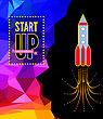 Launch Of A Space Rocket In The Drawing Style. Vector Illustration On Triangle Background