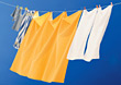 Laundry Hanging from Clothesline stock photo