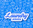 Laundry Service Vector Illustration On Blue Background