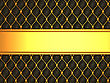 Leather Background With Golden Blank Line For Caption. Large Resolution