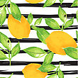 Lemon Pattern. Seamless Decorative Background With Yellow Lemons And Green Leaves On Black Stripes Grunge Background. Mediterranian Seamless Pattern With Fruits. Textile Pattern