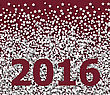 Lettering 2016 On Red Backdrop White Hoarfrost Particles - Vector