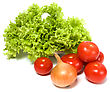 Lettuce Salad And Vegetables Isolated On White Background stock photo