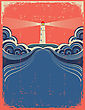Lighthouse With Blue Sea Grunge Background For Design Of Symbol Card