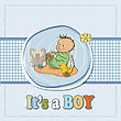 Little Baby Boy Play With His Toys.baby Shower Card In Vector Format