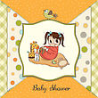 Little Baby Girl Play With Her Toys. Baby Shower Card