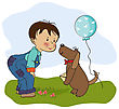 Little Boy And His Dog, Birthday Card In Vector Format