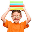 Caucasian Little Boy Is Holding A Pile Of Books, Isolated Over White stock photo