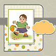Little Boy Playing Ball, Vector Illustration