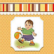 Laughing Little Boy Playing Ball, Vector Illustration stock illustration