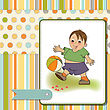 Little Boy Playing Ball, Vector Illustration stock vector