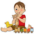 Little Boy Are Playing With His Toys , Vector Illustration