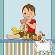 Little Boy Are Playing With His Toys , Vector Illustration stock illustration