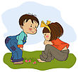 Little Boy Playing With A Little Girl, Illustration In Vector Format stock vector