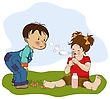 Little Boy Playing With A Little Girl, Illustration In Vector Format stock illustration