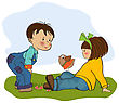 Brother Little Boy Playing With A Little Girl, Illustration In Vector Format stock illustration