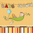 Little Boy Sleeping In A Pea Been, Baby Announcement Card stock illustration