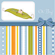 Little Boy Sleeping In A Pea Been, Baby Announcement Card stock vector