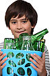 Little Boy With Glass Bottles stock photo