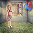 Imagination Little Dreams. Funny Retro Female Portrait stock photography