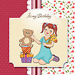 Hug Little Girl Playing With Her Birthday Gifts . Happy Birthday Card stock illustration