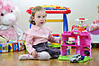 Little Girl In A Room With Toys, Playing With Cars
