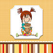 Little Girl Sitting With Her Teddy Bear, Vector Illustration