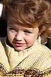 Little Girl Wearing Knitted Jumper stock photography