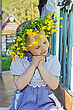 Leaves Little Girl With A Wreath Of Yellow Flowers On Her Head stock image