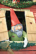 Little Gnome In The Window In Christmas stock photography