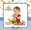 Littleboy Are Playing With His Toys On His First Birthday stock illustration