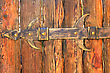 Locked Old Wooden Door. Front Entrance Brown Door stock image