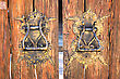 Locked Old Wooden Door. Front Entrance Brown Door stock photography