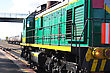 Diesel Locomotive Green With Yellow Stripe stock photography