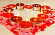 Lot Of Burning Candles In A Form Of Heart stock photography
