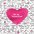 Love Background With Seamless Hand Drawn Text And Small Hearts. Valentines Design