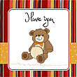 Love Card With A Teddy Bear, Illustration In Vector Format