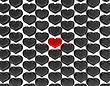 Love Concept. One Red Heart Among Black Ones. Large Resolution