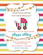 Lovely Baby Shower Card With Stroller, Vector Format