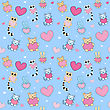 Lovely Cartoon Seamless Background. Lemurs, Cats, Bunnies