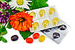 Lozenges Cough Multicolored, Sprig Of Mint, Sage Leaf, Chamomile, Calendula, Oregano stock photo
