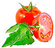 Lush Tomatos With Green Leafs. Isolated Over White stock image