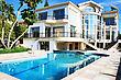 Statues Luxurious Villa And Swimming Pool In Cyprus. stock photography